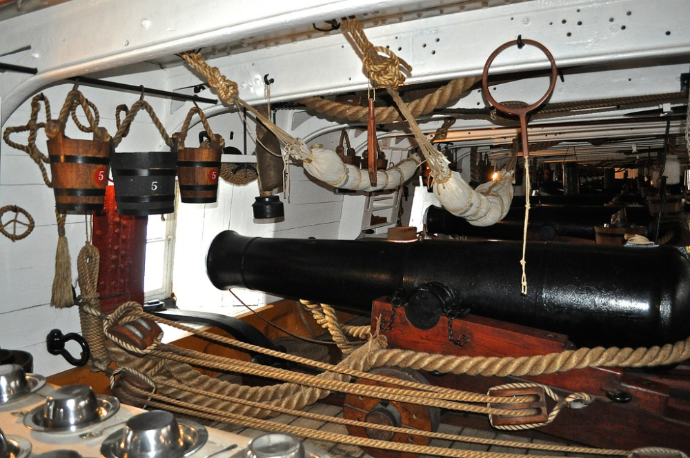 Main gun deck on HMS Warrior