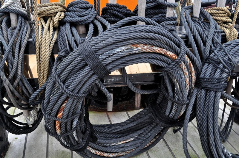 Rolls of ship's ropes on HMS Warrior