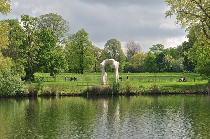 From the other side of the lake, Henry Moore's Arch, Kensington Gardens