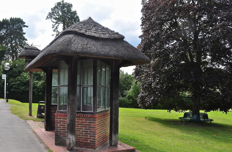 The Thatched Bus Stop and Dovecote in Westcott, Surrey