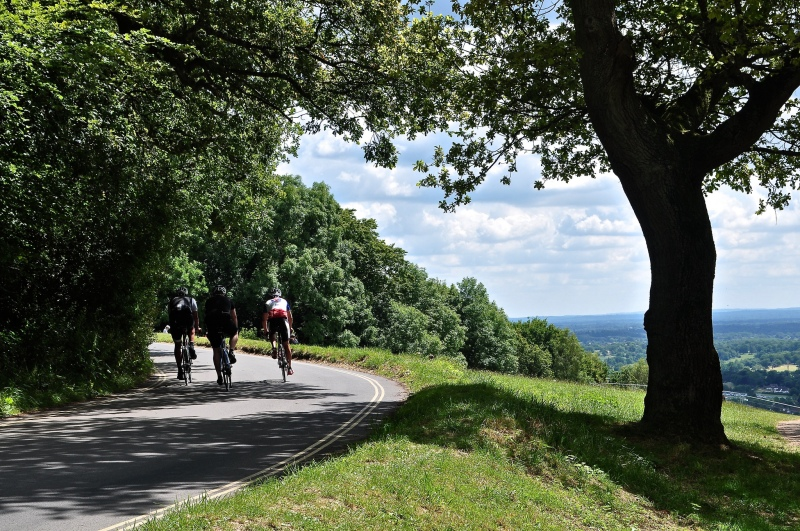 Cyclists at the summit to Box Hill