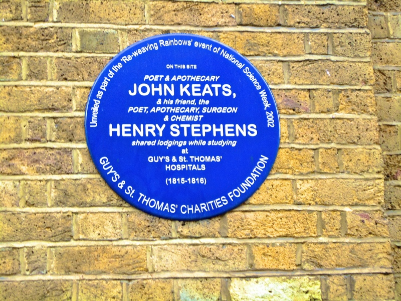 John Keats plaque near Guy's Hospital, Southwark in St Thomas's Street