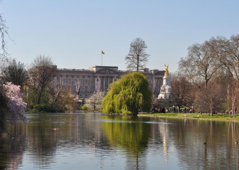 Buckingham Palace from The Blue Bridge - St James's Park, London