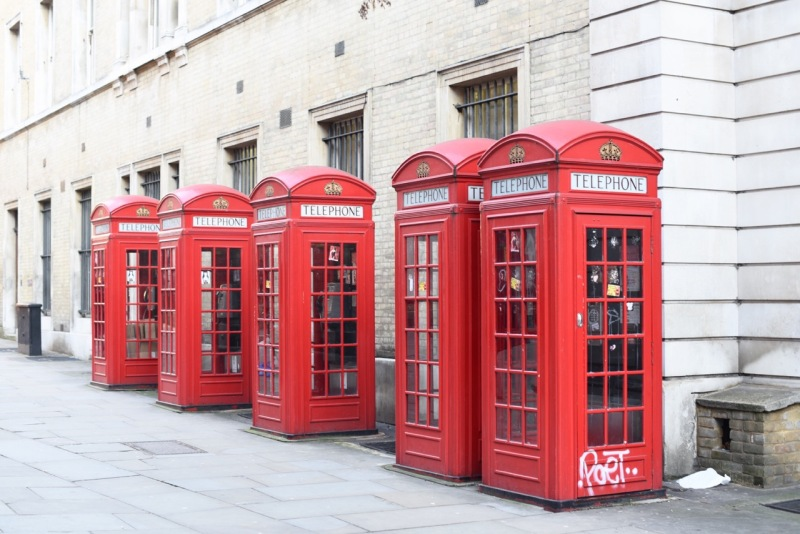 K2 telephone boxes in Covent Garden, London by Sue Lowry