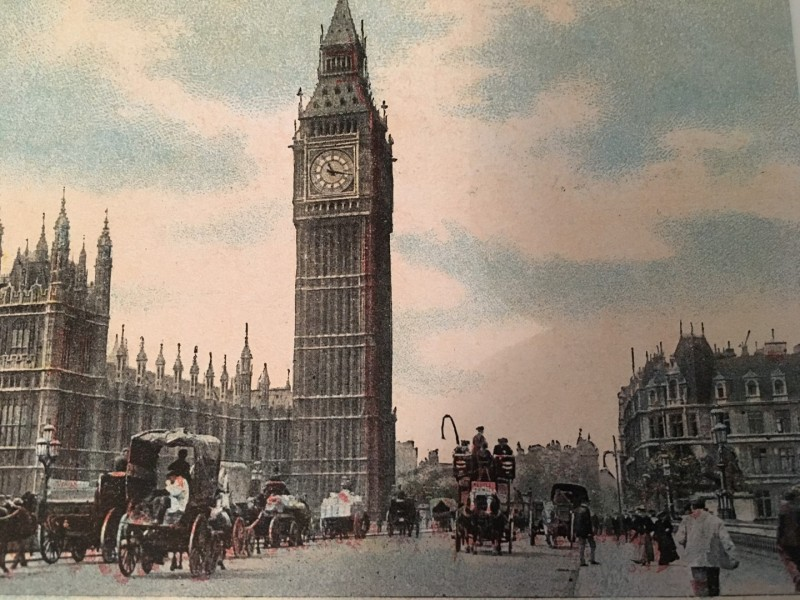 Big Ben and Westminster courtesy of the London Bridge Hotel Postcard Archive