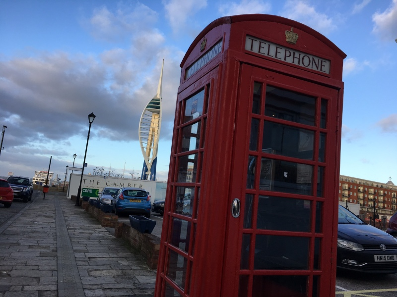 K6 Telephone Kiosk in Old Portsmouth by Sue Lowry