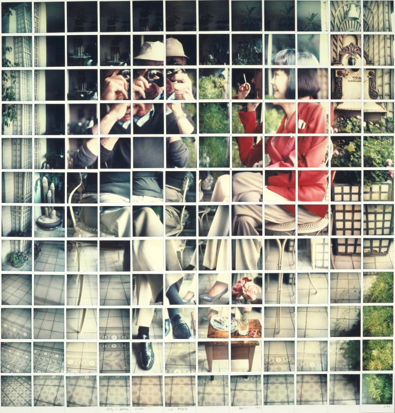 """BILL + AUDREY WILDER LOS ANGELES APRIL 1982"" COMPOSITE POLAROID 46 X 44"" ©DAVID HOCKNEY PHOTO CREDIT: RICHARD SCHMIDT"