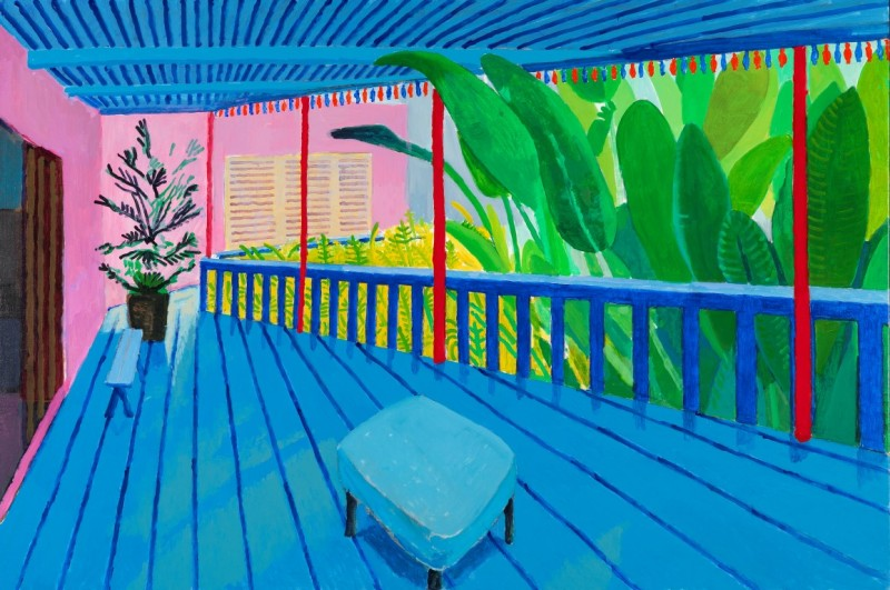 "David Hockney ""Garden with Blue Terrace"" 2015 Acrylic on canvas 48 x 72"" © David Hockney Photo Credit: Richard Schmidt"