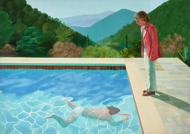 """PORTRAIT OF AN ARTIST (POOL WITH TWO FIGURES)"" 1972 ACRYLIC ON CANVAS 84 X 120"" © DAVID HOCKNEY PHOTO CREDIT: ART GALLERY OF NEW SOUTH WALES/JENNI CARTER"