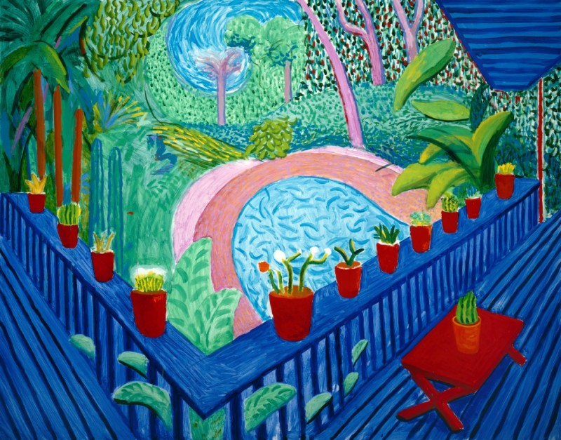 """RED POTS IN THE GARDEN"" 2000 OIL ON CANVAS 60 X 76"" © DAVID HOCKNEY PHOTO CREDIT: RICHARD SCHMIDT"