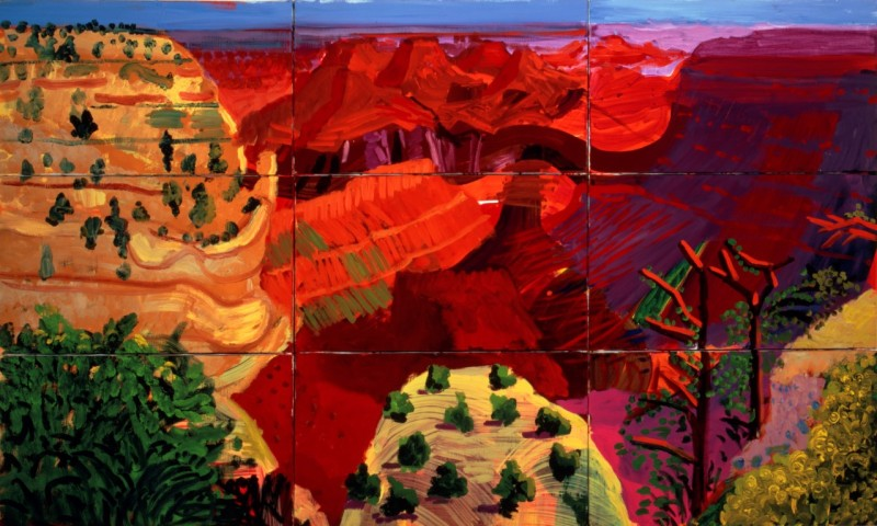 """9 CANVAS STUDY OF THE GRAND CANYON"" 1998 OIL ON 9 CANVASES 39 1/2 X 65 1/2"" OVERALL © DAVID HOCKNEY PHOTO CREDIT: RICHARD SCHMIDT"