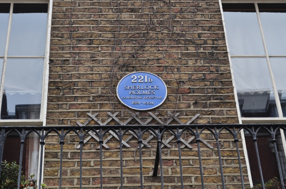 Fictional unofficial blue plaque of Sherlock Holmes by Sue Lowry