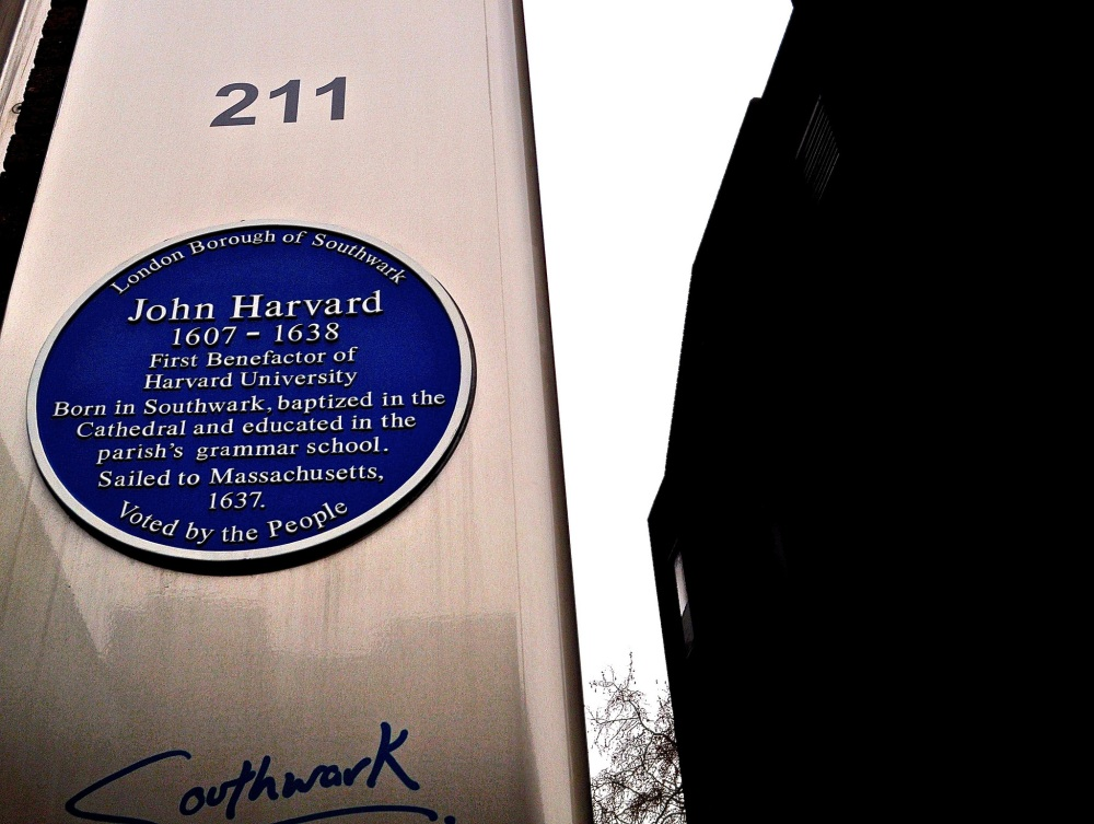 Harvard plaque in Borough High Street by Sue Lowry